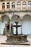 Fountain in Parador Hostal de Los Reyes Catolicos in Santiago de Compostela, Galicia, Spain