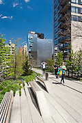 The High Line Park in the Chelsea neighborhood of Manhattan, New York City.