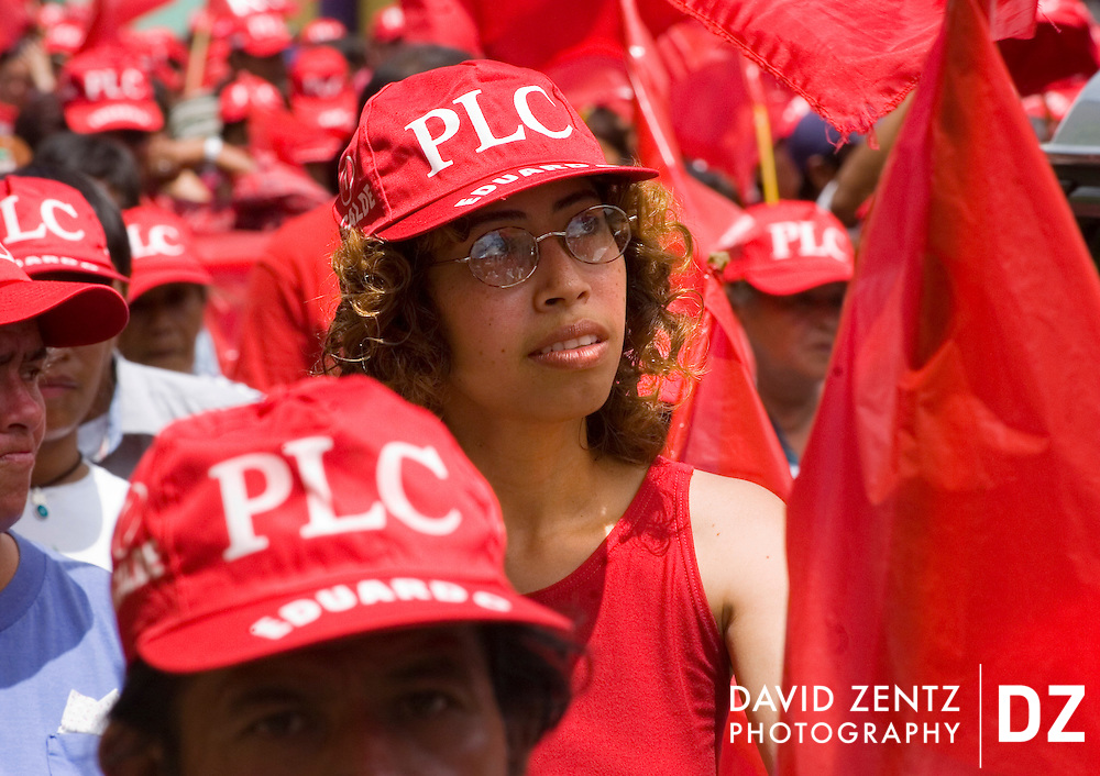 People participate in a Partido Liberal Constitucionalista (PLC) rally in Masatepe, Nicaragua on October 3, 2004. The party was defeated by the Sandinista party in the 2006 elections.