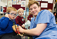 18/01/2018 Ethan Donoghue, 5, from Newcastle National School Athenry at the Teddy Bear Hospital at NUI Galway with 3rd year Medical Student David O'Sullivan from Galway. Photo:Andrew Downes, XPOSURE