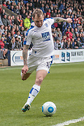James Norwood (Tranmere Rovers) crosses into the Aldershot Town box during the Vanarama National League second leg play off match between Tranmere Rovers and Aldershot Town at Prenton Park, Birkenhead, England on 6 May 2017. Photo by Mark P Doherty.