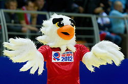 Mascot Tasa during handball match between Slovenia and Croatia in  2nd Round of Preliminary Round of 10th EHF European Handball Championship Serbia 2012, on January 18, 2012 in Millennium Center, Vrsac, Serbia. Croatia defeated Slovenia 31-29. (Photo By Vid Ponikvar / Sportida.com)