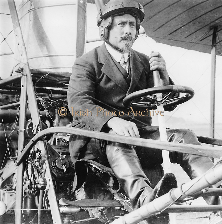 Samuel Franklin Cody  (1862-1913) in his biplane. American-born British aviator.