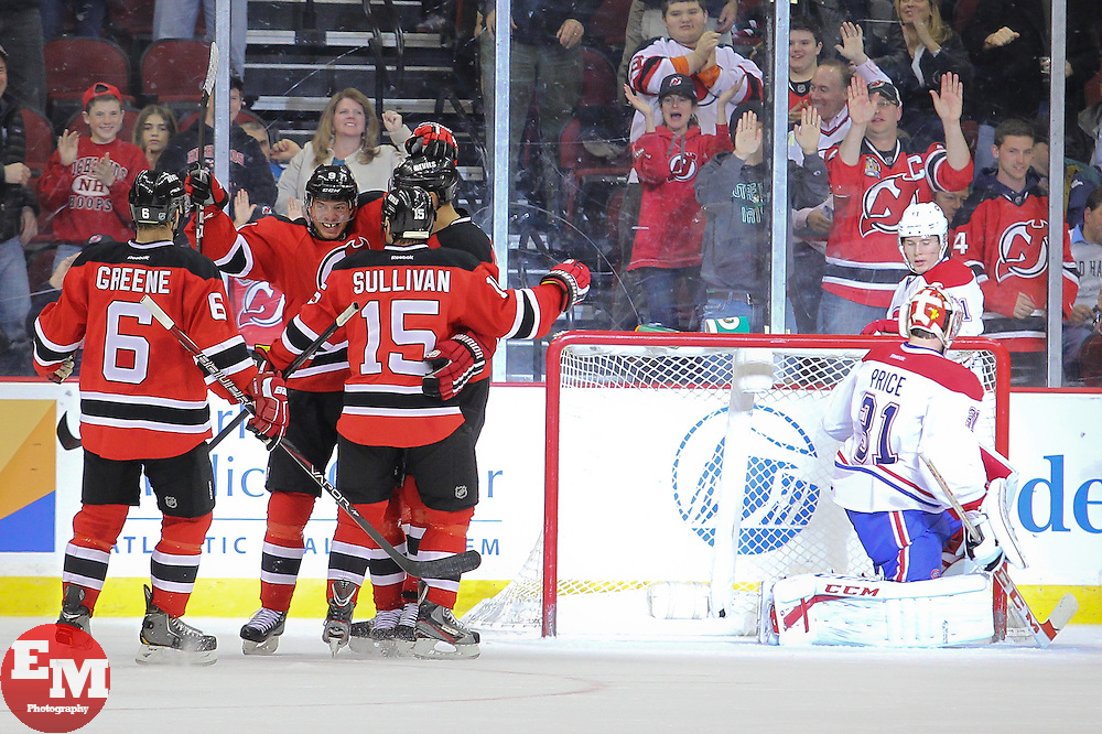 Apr 23, 2013; Newark, NJ, USA; The New Jersey Devils celebrate a goal by New Jersey Devils center Jacob Josefson (9) during the first period of their game against the Montreal Canadiens at the Prudential Center.
