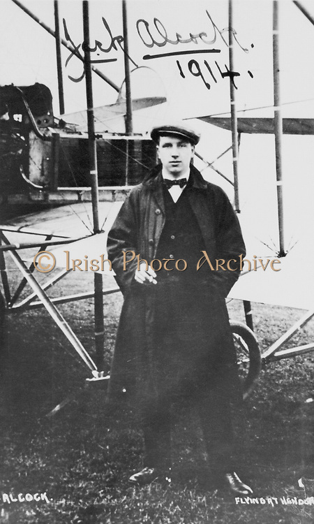 John William Alcock (1892-1919) British aviator who, with Arthur Whitten Brown (1886-1948), was first to fly Atlantic non-stop, 14 June 1919. Photograph of Alcock at Hendon signed and dated 1914.
