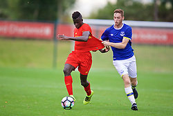 KIRKBY, ENGLAND - Saturday, September 24, 2016: Liverpool's Toni Gomes in action against Everton's Ryan Harrington during the Under-18 FA Premier League match at the Kirkby Academy. (Pic by David Rawcliffe/Propaganda)