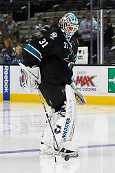 Nov 10, 2011; San Jose, CA, USA; San Jose Sharks goalie Antti Niemi (31) warms up before the game against the Minnesota Wild at HP Pavilion.  San Jose defeated Minnesota 3-1. Mandatory Credit: Jason O. Watson-US PRESSWIRE