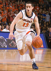 Virginia guard Sammy Zeglinski (13) in action against FSU.  The Virginia Cavaliers fell to the Florida State Seminoles 73-62 in NCAA Basketball at the John Paul Jones Arena on the Grounds of the University of Virginia in Charlottesville, VA on January 24, 2009.
