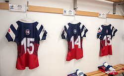 Bristol Bears Women kit laid out in the changing room - Mandatory by-line: Paul Knight/JMP - 01/12/2018 - RUGBY - Shaftesbury Park - Bristol, England - Bristol Bears Women v Harlequins Ladies - Tyrrells Premier 15s