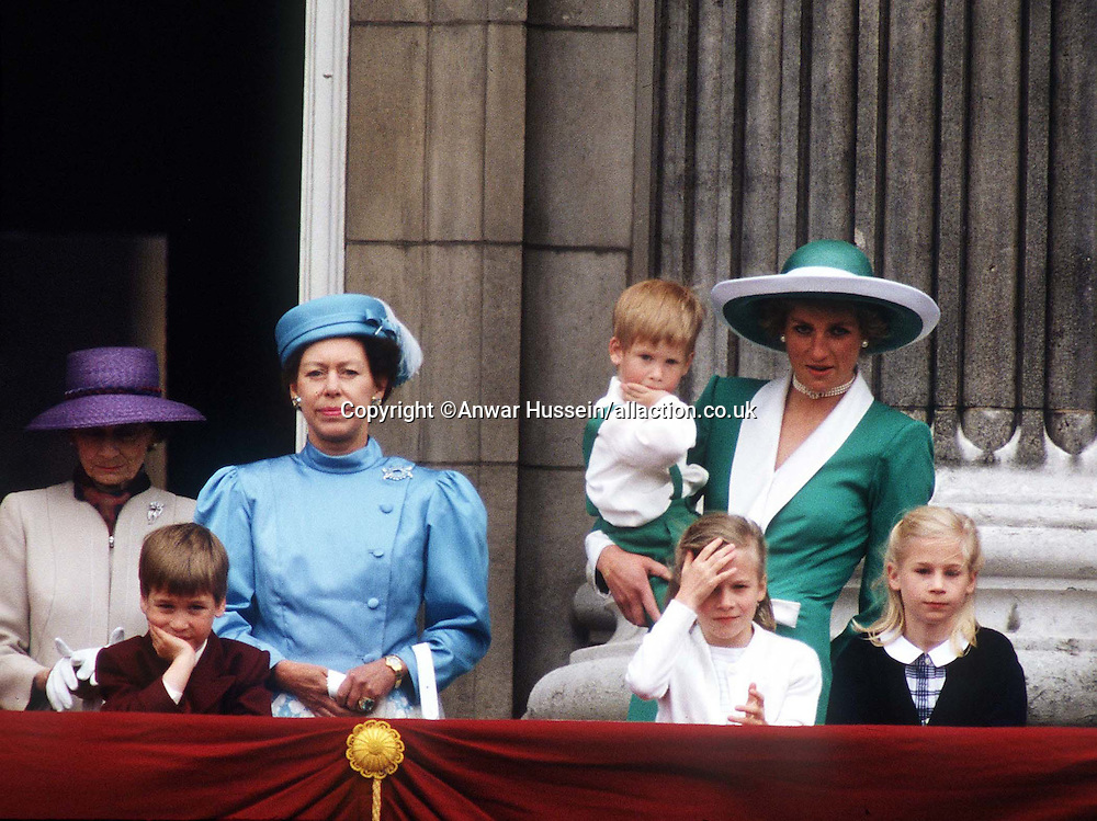Princess Margaret, the Princess of Wales and young Princes William and Harry at Buckingham Palace, London for Tropping the Colour on June 1st, 1988.<br />
