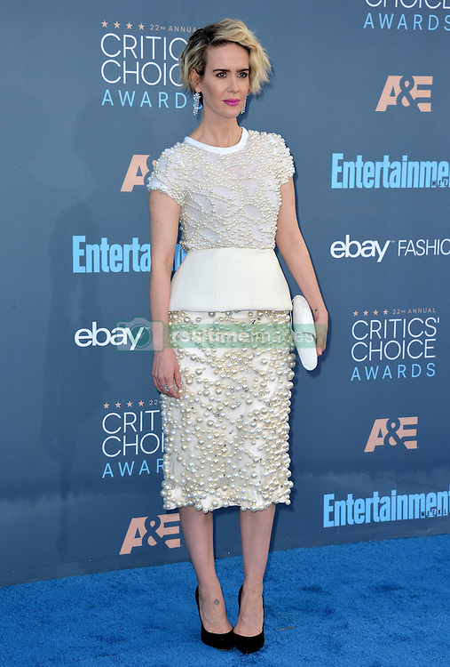 Sarah Paulson attends the 22nd Annual Critics' Choice Awards at Barker Hangar on December 11, 2016 in Santa Monica, Los Angeles, CA, USA. Photo By Lionel Hahn/ABACAPRESS.COM