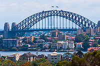 View of the Sydney Harbour Bridge from the Taronga Zoo, Sydney Harbor, Sydney, New South Wales, Australia