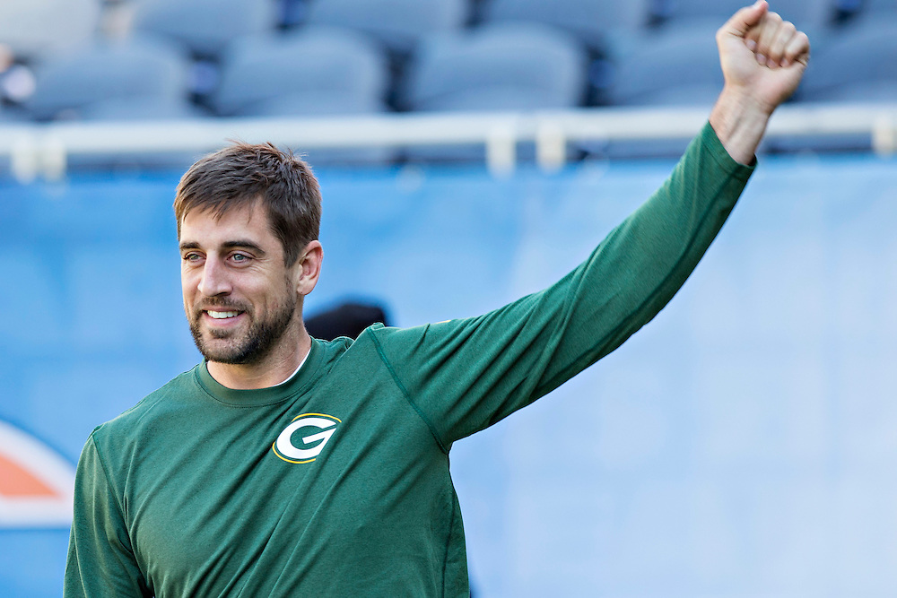 CHICAGO, IL - SEPTEMBER 13:  Aaron Rodgers #12 of the Green Bay Packers warming up before a game against the Chicago Bears at Soldier Field on September 13, 2015 in Chicago, Illinois.  The Packers defeated the Bears 31-23.  (Photo by Wesley Hitt/Getty Images) *** Local Caption *** Aaron Rodgers