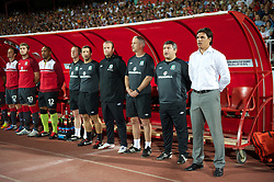 NOVI SAD, SERBIA - Tuesday, September 11, 2012: Wales' manager Chris Coleman and coach Osian Roberts before the 2014 FIFA World Cup Brazil Qualifying Group A match against Serbia at the Karadorde Stadium. (Pic by David Rawcliffe/Propaganda)