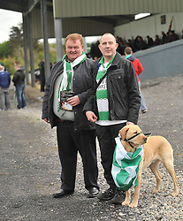 Supporting Castlebar Celtic at the Connaught Cup Final at Milebush were Greg White and Damien O'Connor with his guide dog Igor.<br /> Pic Conor McKeown