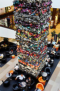 GERMANY - BERLIN - A work of art, made of car wrecks in a shopping mall.  PHOTO GERRIT DE HEUS