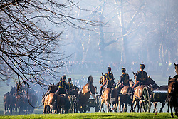 © Licensed to London News Pictures. 06/02/2020. London, UK. A horse bucks after the king's Troop Royal Horse Artillery fired a 41-gun salute in Green Park to mark the 68th anniversary of the Queen's Accession to the Throne. Photo credit: Alex Lentati/LNP