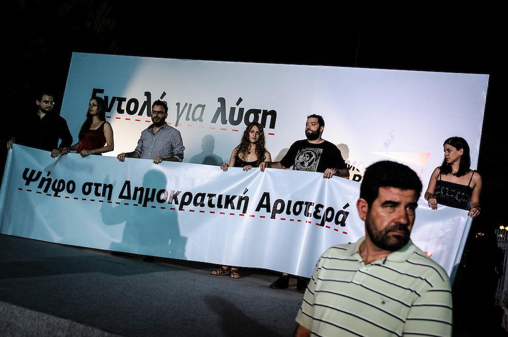 GREECE ATHENS 13 JUNE 2012 People attend the election campain speech of Fotis Kouvelis, leader of Dimokratiki Aristera (Democratic Left)