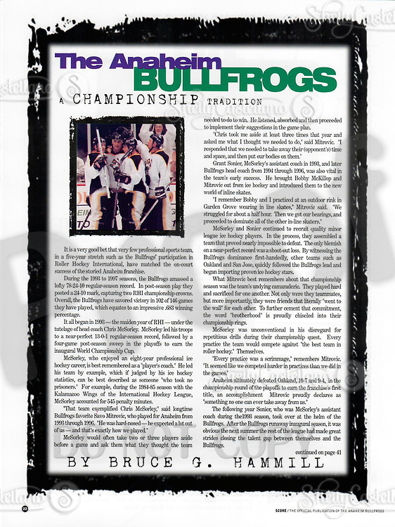 1999 RHI Anaheim Bullfrogs program.  Article by Bruce Hammill on the Anaheim Bullfrogs Championships.
