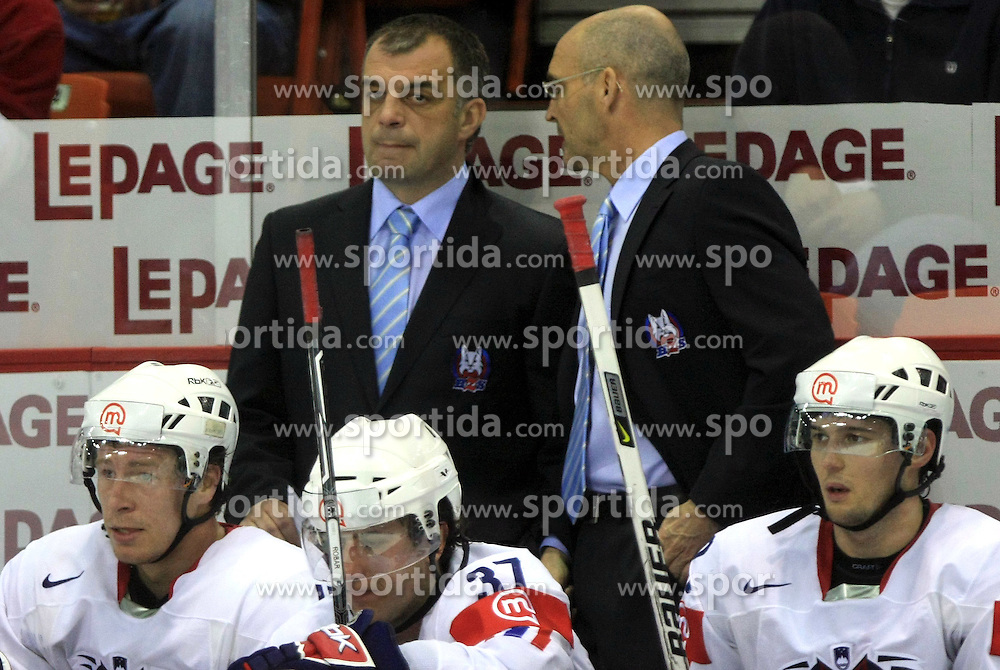 Assistant coach Matjaz Kopitar and Head Coach of Slovenia Mats Waltin (first row: Egon Muric, Mitja Robar and Ales Kranjc) at ice-hockey match USA vs Slovenia at Preliminary Round (group B) of IIHF WC 2008 in Halifax, on May 04, 2008 in Metro Center, Halifax, Nova Scotia, Canada. (Photo by Vid Ponikvar / Sportal Images)