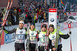 13.12.2014, Biathlonarena, Hochfilzen, AUT, E. ON IBU Weltcup, Staffel, Herren, im Bild zweiter Platz, v.l.: Martin Fourcade (FRA), Simon Desthieux (FRA), Jean Guillaume Beatrix (FRA), Simon Fourcade (FRA) // during Mens Relay of E. ON IBU Biathlon World Cup at the Biathlonstadium in Hochfilzen, Austria on 2014/12/13. EXPA Pictures © 2014, PhotoCredit: EXPA/ JFK