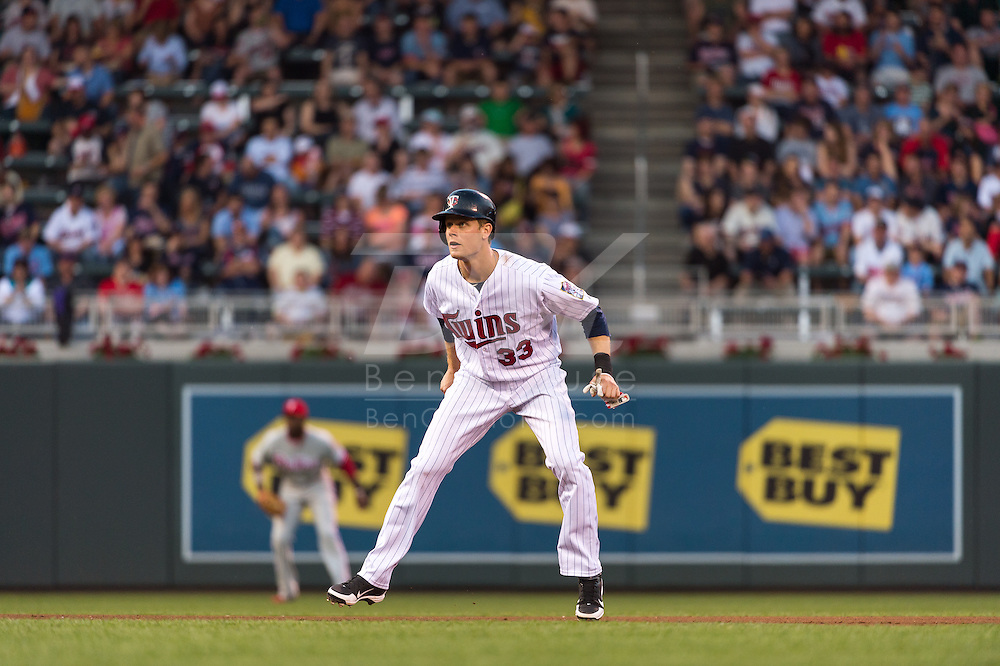 Justin Morneau #33 of the Minnesota Twins leads off 2nd base during a game against the Philadelphia Phillies on June 11, 2013 at Target Field in Minneapolis, Minnesota.  The Twins defeated the Phillies 3 to 2.  Photo: Ben Krause