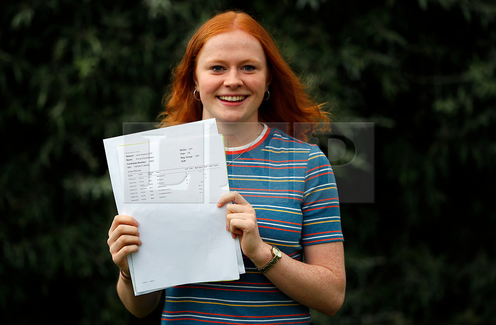 © Licensed to London News Pictures. 17/08/2017. LONDON, UK. <br /> ENGLAND U19 LACROSSE PLAYER RECEIVES A LEVEL RESULTS. Lady Eleanor Holles student Erica Wallace, receives 3 A*'s in her A level results today and is going onto Cambridge University to study Natural Science. Erica was selected to to play in the England U19 Lacrosse team against the Japan Senior Women's side at the Senior Regional tournament, and Home Internationals in Cardiff. Photo credit: LNP
