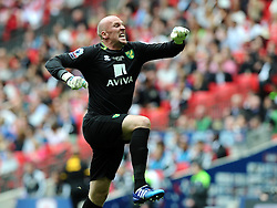 Norwich City's John Ruddy celebrates the opening goal from Norwich City's Cameron Jerome  - Photo mandatory by-line: Joe Meredith/JMP - Mobile: 07966 386802 - 25/05/2015 - SPORT - Football - London - Wembley Stadium - Middlesbrough v Norwich - Sky Bet Championship - Play-Off Final