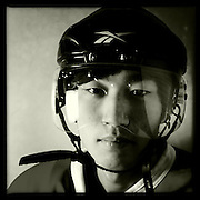 Ice Men Cometh…Li Xuezhe,19, China..An iPhone portrait series on young men competing in the 2012 IIHF Ice Hockey World Championships Division 3. The tournament  was contested by countries New Zealand, Iceland, China, Bulgaria and Turkey at Dunedin Ice Stadium. Dunedin, Otago, New Zealand. 17th January 2012. Photo Tim Clayton