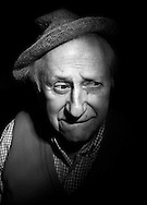 Studs Terkel, legendary Chicago writer, poses with his famous hat at his home in Chicago on Wednesday, Feb. 28, 2001.