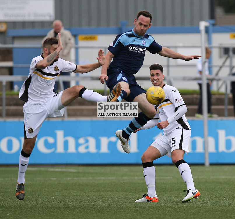 Both teams battle for the ball  during the  Forfar v Dumbarton Scottish League Cup group stage 16 July 2016<br /> <br /> (c) Andy Scott | SportPix.org.uk