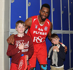 Bristol Flyers' Alif Bland poses for a photo with fans - Photo mandatory by-line: Dougie Allward/JMP - Mobile: 07966 386802 - 13/03/2015 - SPORT - Basketball - Bristol - SGS Wise Campus - Bristol Flyers v Leicester Riders - British Basketball League
