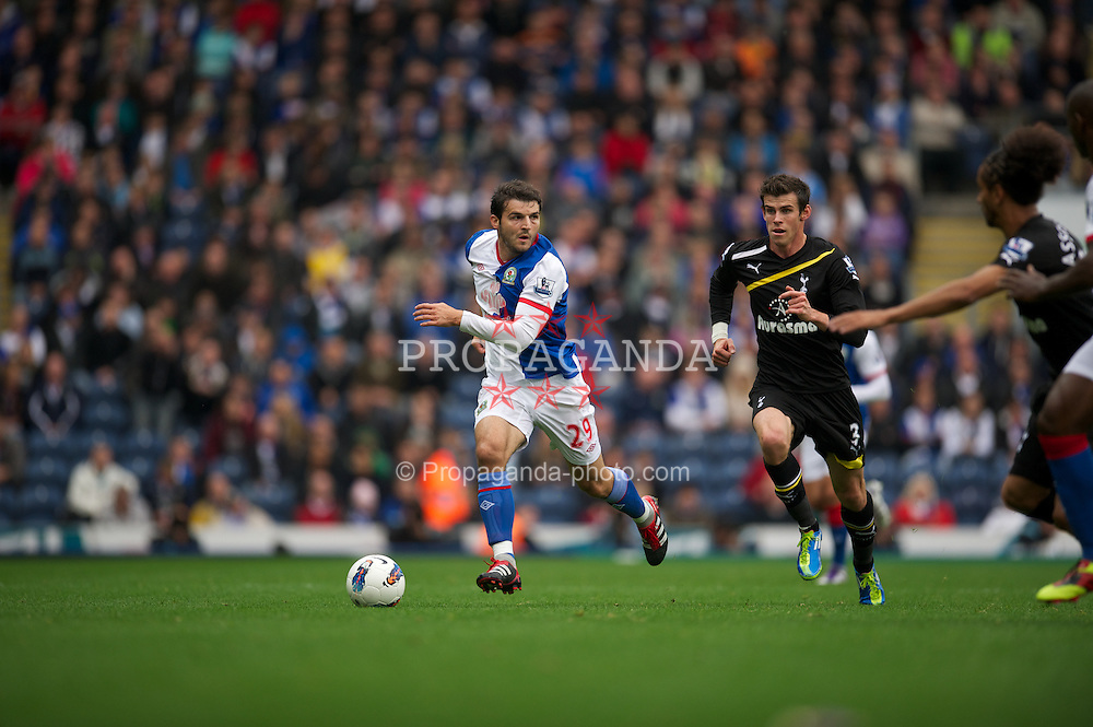 BLACKBURN, ENGLAND - Sunday, October 23, 2011: Blackburn Rovers' Simon Vukcevic in action against Tottenham Hotspur during the Premiership match at Ewood Park. (Pic by David Rawcliffe/Propaganda)
