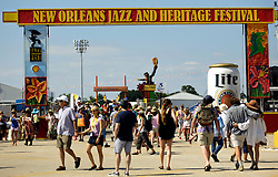 30 April 2015. New Orleans, Louisiana.<br /> The entrance to the New Orleans Jazz and Heritage Festival. <br /> Photo; Charlie Varley/varleypix.com