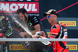 July 8, 2018 - Misano, RN, Italy - Marco Melandri of Aruba.it Racing - Ducati celebrate the third place on race 2 of the Motul FIM Superbike Championship, Riviera di Rimini Round, at Misano World Circuit ''Marco Simoncelli'', on July 08, 2018 in Misano, Italy  (Credit Image: © Danilo Di Giovanni/NurPhoto via ZUMA Press)