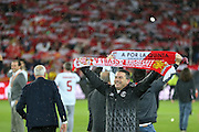 Sevilla officials celebrate with scarfs during the Europa League Final match between Liverpool and Sevilla at St Jakob-Park, Basel, Switzerland on 18 May 2016. Photo by Phil Duncan.