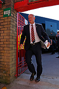 Simon Grayson Manager of Blackpool arriving at the Wham Stadium during the EFL Sky Bet League 1 match between Accrington Stanley and Blackpool at the Fraser Eagle Stadium, Accrington, England on 21 September 2019.