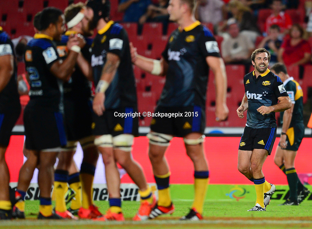 Conrad Smith of the Hurricanes celebrates during the 2015 Super Rugby rugby match between the Lions and the Hurricanes at Ellis Park in Johannesburg, South Africa on February 13, 2015 ©Barry Aldworth/BackpagePix