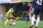 AFC Wimbledon attacker Michael Folivi (41) dribbling during the EFL Sky Bet League 1 match between Southend United and AFC Wimbledon at Roots Hall, Southend, England on 16 March 2019.