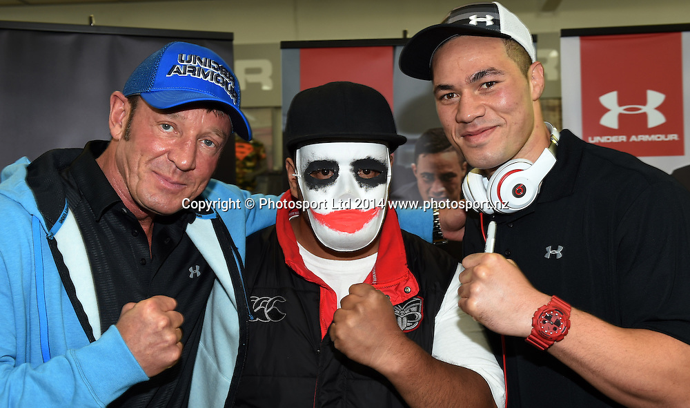 Kevin Barry, Mt Smart Joker and Boxer Joseph Parker during a signing session at Rebel Sport Manukau for sponsor Under Armour ahead of the Parker v Minto Hydr8 Zero Heavyweight Explosion fight scheduled for 5 July 2014. Auckland. Saturday 28 June 2014. Photo: Andrew Cornaga/www.photosport.co.nz