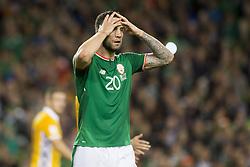 October 6, 2017 - Dublin, Ireland - Shane Duffy of Ireland reacts during the FIFA World Cup 2018 Qualifying Round Group D match between Republic of Ireland and Moldova at Aviva Stadium in Dublin, Ireland on October 6, 2017  (Credit Image: © Andrew Surma/NurPhoto via ZUMA Press)