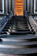 Staircase leading to the reading room, Biblioteca Medicea Laurenziana, Florence, Italy