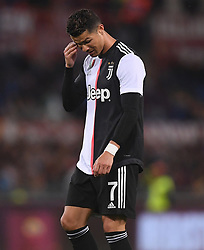 ROME, May 13, 2019  FC Juventus's Cristiano Ronaldo reacts during a Serie A soccer match between Roma and FC Juventus in Rome, Italy, May 12 , 2019. Roma won 2-0. (Credit Image: © Alberto Lingria/Xinhua via ZUMA Wire)