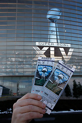 Feb 6, 2011; Arlington, TX, USA; A detail view of tickets before Super Bowl XLV between the Green Bay Packers and the Pittsburgh Steelers at Cowboys Stadium.  Green Bay defeated Pittsburgh 31-25.