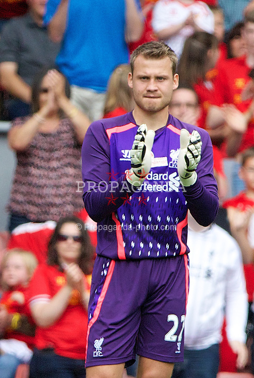 LIVERPOOL, ENGLAND - Saturday, August 3, 2013: Liverpool's goalkeeper Simon Mignolet in action against Olympiakos CFP during a preseason friendly match at Anfield. (Pic by David Rawcliffe/Propaganda)