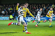 Forest Green Rovers Kieffer Moore(14) shoots at goal during the Vanarama National League match between Torquay United and Forest Green Rovers at Plainmoor, Torquay, England on 26 December 2016. Photo by Shane Healey.