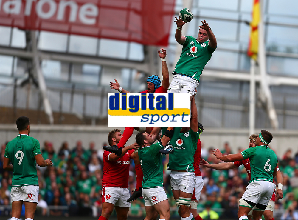 Rugby Union - 2019 pre-Rugby World Cup warm-up (Guinness Summer Series) - Ireland vs. Wales<br /> <br /> James Ryan (Ireland) wins a lineout ahead of Justin Tipuric (Wales) at The Aviva Stadium.<br /> <br /> COLORSPORT/KEN SUTTON