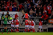 Rotherham players celebrate the second goal scored by Will Vaulks during the EFL Sky Bet League 1 play off second leg match between Rotherham United and Scunthorpe United at the AESSEAL New York Stadium, Rotherham, England on 16 May 2018. Picture by Nigel Cole.