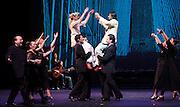 Flamenco Festival London 2012 <br /> Rafael Amargo Company <br /> Poet in New York <br /> at Sadler's Wells, London, Great Britain <br /> press photocall<br /> 17th February 2012 <br /> <br /> Rafael Amargo <br /> Yolanda Jimenez<br /> <br /> <br /> Photograph by Elliott Franks