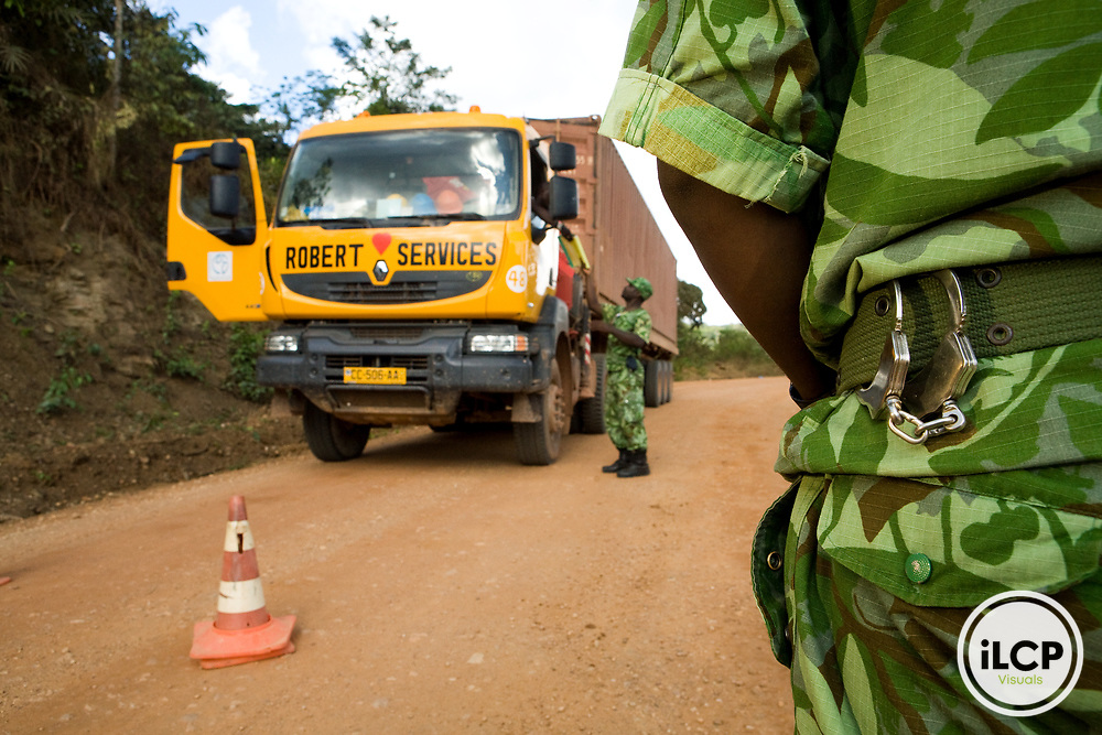 National Park guards stopping truck to look for illegal bushmeat, Lope National Park, Gabon